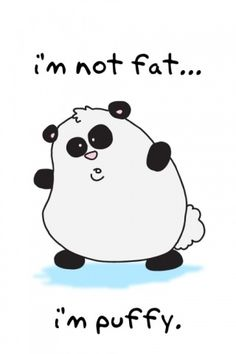 This is a fat panda that says its not fat but its puffy really WHAT'S THE DIFFERENCE