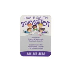 Babysitter Business Card Magnet by #wrkdesigns
