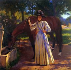 Edmund C. Tarbell (American 1862–1938) [Impressionism, Portrait, The Ten] Girl and Horse (1892) Private Collection. – The Athenaeum