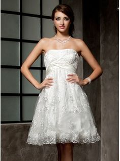 Wedding Dresses - $162.99 - Empire Strapless Knee-Length Satin Lace Wedding Dress With Ruffle Beading  http://www.dressfirst.com/Empire-Strapless-Knee-Length-Satin-Lace-Wedding-Dress-With-Ruffle-Beading-002000221-g221