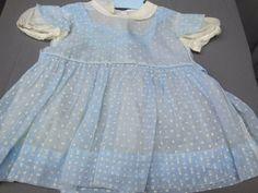 VTG 50's Sheer Blue Organdy Baby Girl's Doll Dress w/Petticoat- Swiss Dot &…