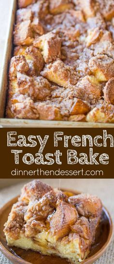 Easy French Toast Bake with no overnight chilling and all your favorite French Toast flavors you can serve to your family or a large crowd. Perfect with warm maple syrup. Toast Casserole Easy French Toast Bake - Dinner, then Dessert Breakfast Dishes, Best Breakfast, Breakfast Recipes, Breakfast Toast, Breakfast Casserole French Toast, French Toast Caserole, Breakfast For A Crowd, Breakfast Muffins, Mini Muffins
