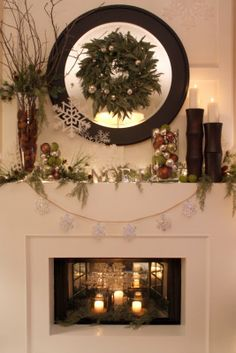 Christmas fireplace...love the wreath on the mirror.