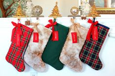 Set of 5 family christmas stockings / Christmas by MonarcaDesigns