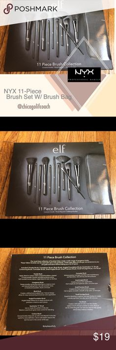 New NYX 11-Piece Brush Set W/ Brush Bag New & unopened, NYX 11-Piece Brush Set with Brush bag. I use this Set & love it! I put together my favorites packages for my clients, and often have extra products that I sell on here! I price my items lower to accommodate for shipping. I'm open to reasonable offers, especially if you're bundling with other items - you'll pay the same in shipping if you buy one or multiple items from my closet!All the funds go to the non-profit organization I'm…