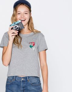 Pull&Bear - woman - clothing - t-shirts - the little mermaid t-shirt - grey marl - 09244336-I2016