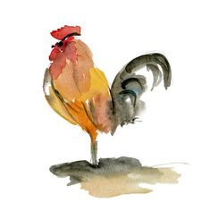 The Rooster, art  print of original watercolor painting - Etsy Yael Berger Tel Aviv Yaffo, Israel