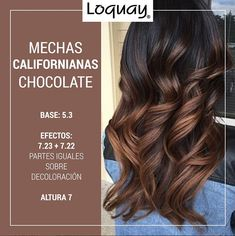 Californian Wicks fit all women. Give it a different touch . Brown Hair Balayage, Balayage Color, Hair Highlights, Hair Color Formulas, Cabello Hair, Chocolate Hair, Hair Color Techniques, Hair Color For Women, Super Hair