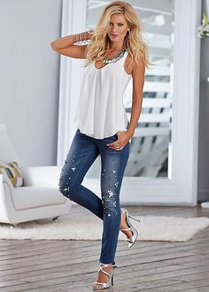 Ruffle front tank with embellished skinny denim from VENUS. Top sizes XS-XL. Jean sizes 2-16!