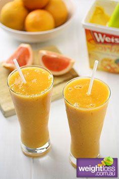Healthy Drink Recipes: Red Grapefruit Slushy Recipe. #HealthyRecipes #DietRecipes #WeightlossRecipes weightloss.com.au