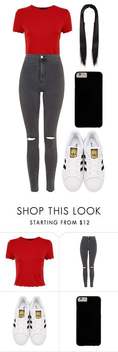 """""""Outfit"""" by andreeadeeix12 ❤ liked on Polyvore featuring Topshop and adidas Originals"""