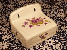 Shabby chic style violets floral decor CHAPUS FRERES Limoges porcelain toilet paper holder - French 50s 60s vintage