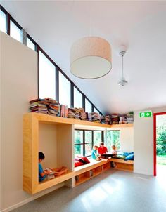 school library design | School interior library, reading nook built-ins | School Design