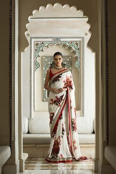 Always wondered what that gorgeous Sabyasachi Lehenga cost? Check out New Sabyasachi Lehenga Prices right here. Floral Print Sarees, Saree Floral, Indian Attire, Indian Ethnic Wear, Saris, Indian Dresses, Indian Outfits, Pakistani Outfits, Indian Clothes