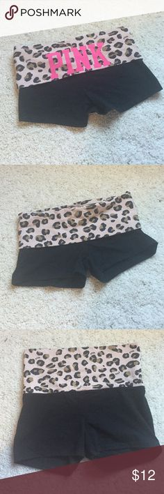 """PINK Spandex Shorts Victoria's Secret PINK spandex shorts. Can be adjusted high or low. Has bright """"PINK"""" on the back with minor wear in the letters N & K (see last picture). Other than that, in great condition! Only been worn a few times :) PINK Victoria's Secret Shorts"""