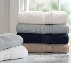 Hydrocotton Bath Towels #potterybarn $52.50 for Bath Towel, Hand Towel and Washcloth in Porcelain blue