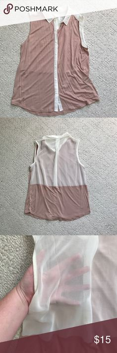 Worn once! Sheet back, button up shirt from UO. Blush pink cotton front with translucent fabric on the seams and the color. The top half of the back of the shirt is translucent material for an unexpected touch. I wore it with a black bralettee that shown through the back for a little bit of a sexy detail. Urban Outfitters Tops