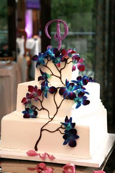 Our Wedding Cake- Blue Dendrobium Orchids and Monogram Cake Topper