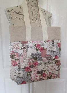 Shabby Chic French Tote Bag, Rose Butterfly Cotton Linen, Handmade Retro Tote, Christmas Gift Idea, Birthday Gift, Handmade in Scotland UK - pinned by pin4etsy.com