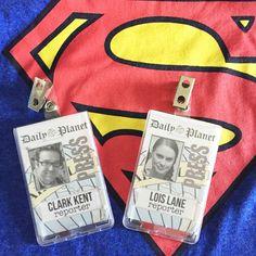 Clark Kent and Lois Lane press badges
