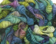 Handspun Art Yarn handdyed Merino wool silk coils