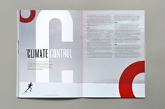 At first glance, it would appear that the circles are unnecessary and solely there for decorative reasons. But upon reading the title, one understands it is about temperature and climate control so the circles stand for degrees. The text is nicely placed on the upper half of the right page.There is nothing distracting in the gutter and the similar colors of the two pages help to unite them together. Also, there is good use of subheads and the footer can be seen at the bottom.