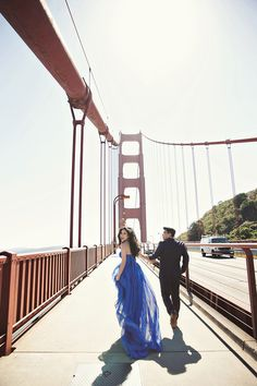 Nothing like being at San Francisco's Golden Gate Bridge in a gorgeous gown // Anthony and Charlene's Glamorous Engagement in the Golden State