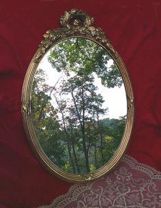 Vintage Oval Ornate Gold Mirror  Big SALE