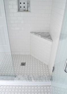 White subway tile - white hexagon/square floor