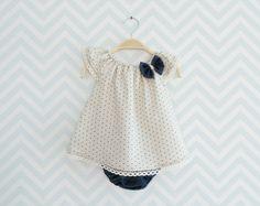 Pur lin Baby Set élégante tenue pour bébé fille robe par Melimebaby, $65.00