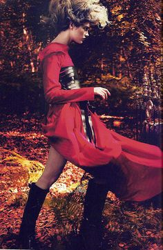 """Natalia Vodianova as Little Red Riding Hood in Ann Demeulemeester for the """"Into the Woods"""" Editorial Vogue September 2009 by Winter Phoenix, via Flic. Fashion Editorial Makeup, Vogue, Fashion Wallpaper, Natalia Vodianova, Red Riding Hood, Little Red, Belle Photo, New Fashion, Trendy Fashion"""