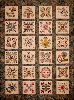 """CD Elegant Garden  Machine Embroidery By Sitar, Edyta  -      **24- 8"""" x 8"""" embroidered appliquéd blocks for cover quilt in ART, DST, EMD, EXP, HUS, JEF, PES, VIP, VP3, and XXX formats.      **Appliqué Embroidery Machine Block instructions in .PDF format on CD      **Complete directions for cover quilt."""