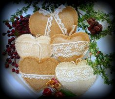 Items similar to Large Burlap and Lace Heart Ornament Wedding Gift Valentine Tag Favor Bunting Garland Mobile Shabby Rustic Chic Decor 5 inches on Etsy Burlap Christmas Decorations, Valentines Day Decorations, Xmas Ornaments, How To Make Ornaments, Crafts To Make, Christmas Crafts, Christmas Wedding, Christmas Ideas, Burlap Crafts