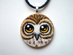 Owl Necklace Hand Painted Wood Disc pendant by ShebboDesign Stone Painting, Painting On Wood, Rock Painting, Painted Rocks Owls, Quirky Art, Whimsical Art, Owl Quilts, Felt Owls, Art Deco Posters