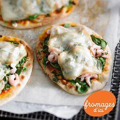 Pizza aux crevettes nordiques et La Raclette Champêtre