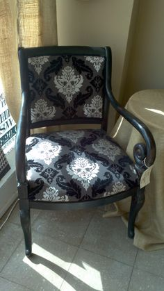 Reupholstered Black Damask chair