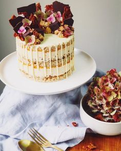 Layers of cinnamon vanilla sponge, caramelised white chocolate mousse, salted pretzel crunch and passionfruit and apricot compote - topped with whipped caramel, honeycomb, chocolate pearls and brownie pieces (optional).