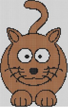 (10) Name: 'Embroidery : Brown Cat Cross Stitch Pattern