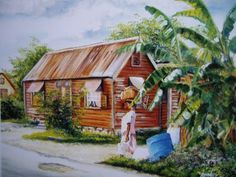 A picture like this is in every Bajan home. Caribbean Art, My Art Studio, Island Life, Barbados, Art Studios, Bing Images, Art Pieces, Cabin, House Styles