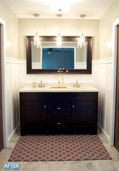 I LIKE THE PENDANT LIGHTS IN FRONT OF THE MIRROR.  TRY IN OUR BATHROOM?