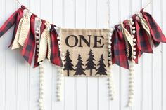 Woodland Lumberjack Happy Little Camper birthday party set decoration highchair, banner, onederland, buffalo plaid, deer, camping, Christmas