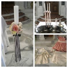 The floral christening candle, oil bottle set and christening dress.