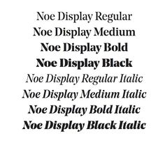Noe Display is a transitional high contrast headline type family. Noe's sharp triangular serifs and terminals give the typeface strong and distinctive characteristics, yet the features are carefully balanced to keep the typeface functional in all uses. For pleasant headlines Noe is spaced and kerned tightly. Noe Display comes in four weights plus italics, with a Latin extended character set and several OpenType features.