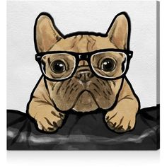"""Oliver Gal Nerdy Frenchman Wall Art, 10"""" x 10"""" (€145) ❤ liked on Polyvore featuring home, home decor, wall art, animals, art, interior wall decor, home wall decor and animal wall art"""
