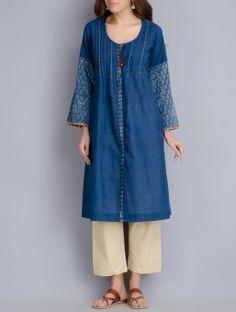 Indigo Pintuck & Kalamkari Block Printed Handwoven Khadi Kurta
