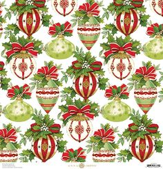 Anna Griffin - Yuletide Greetings Collection - Christmas - 12 x 12 Paper - Ornaments at Scrapbook.com
