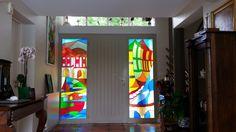 Vitrail Porte d'entrée St Péé sur Nivelle : Vitraux d'Art Vanessa Dazelle Applique Art Deco, Double Vitrage, Stained Glass, Creations, Figurative, Abstract Backgrounds, Basque Country, Stained Glass Windows, Gates