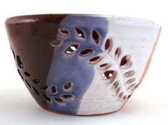 Wheel Thrown Pottery Votive Candle Holder Hand Carved Leaves Hearts Blue Rust. $45.00, via Etsy.
