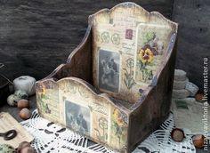 """Деревянный короб для писем """"Старые письма"""" - тёмно-фиолетовый,винтаж,ретро"""
