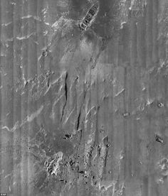 Titanic - sonar images. The large bow and stern sections which rest about half a mile apart from each other can be seen here. They separated when the ship split apart as it began to sink